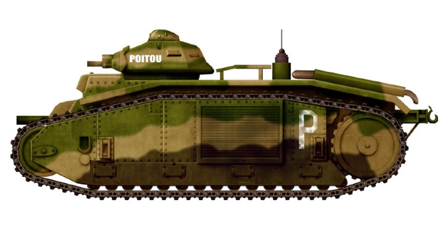 Танк Char B-1 «Пуату», рисунок Источник – tanks-encyclopedia.com - Французский танк Char B-1. Часть II | Военно-исторический портал Warspot.ru