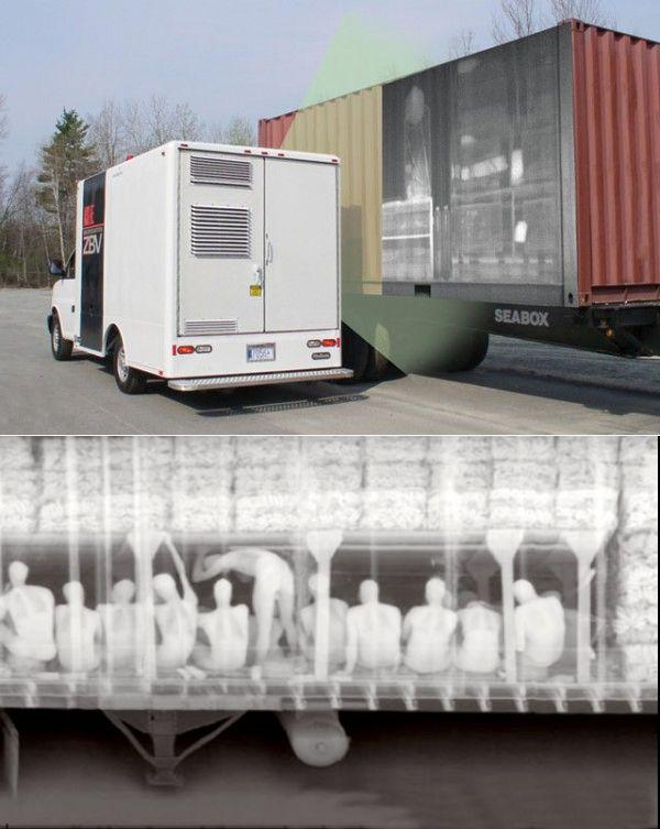 Мобильный рентген-сканер для выявления запрещенных грузов. На нижнем фото - нелегальные иммигранты в контейнере ksv.ru - Лазер видит бомбу за версту | Военно-исторический портал Warspot.ru