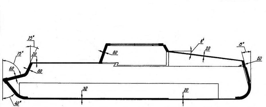 Схема бронирования шасси танка