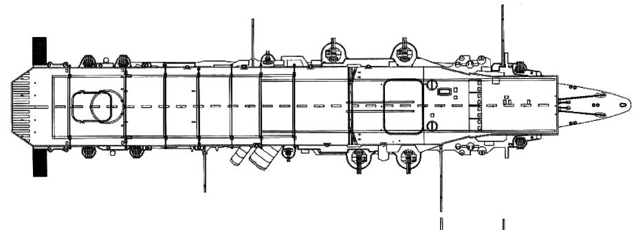 Схема авианосца «Рюдзё» по
