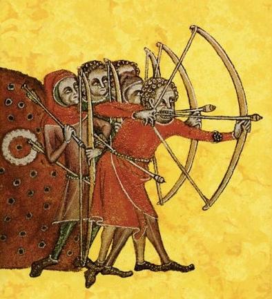 Тренировка английских лучников, иллюстрация из хроники 1325 года - Столетняя война: перед чёрной смертью   Военно-исторический портал Warspot.ru