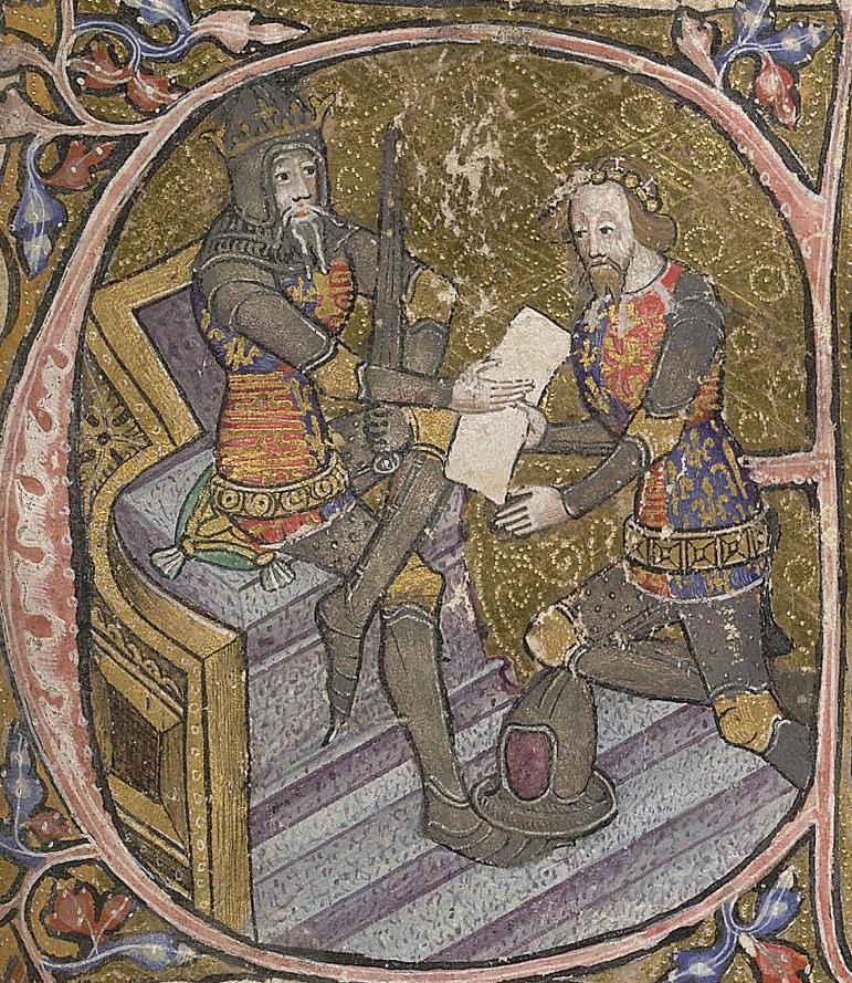 Король Эдуард III и Чёрный Принц, миниатюра 1390 года - Столетняя война: перед чёрной смертью   Военно-исторический портал Warspot.ru