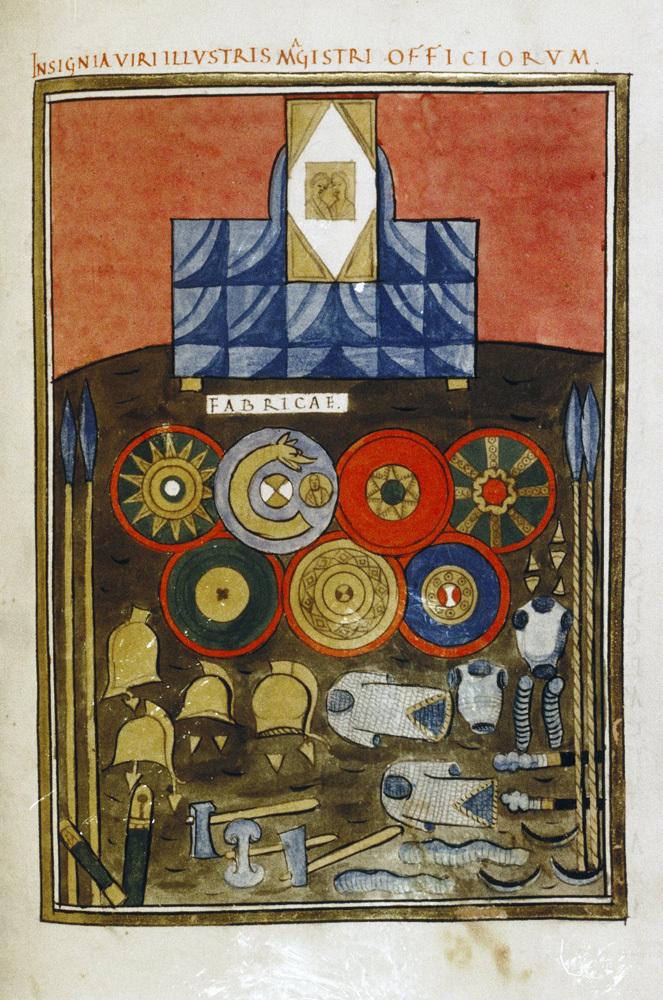 Миниатюра, содержащая инсигнии magister officiorum из богато иллюстрированного кодекса Notitia dignitatum, XVI в. Все сохранившиеся копии документа восходят к иллюминированному кодексу XI в., который, в свою очередь, происходит из оригинала V в. - Последний легион | Военно-исторический портал Warspot.ru
