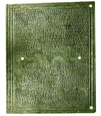 Дипломы древнеримских ветеранов Военно исторический портал   Римский военный диплом эпохи правления Веспасиана 69 79 гг Дипломы