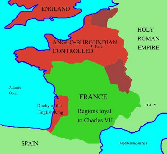 Французские территории, занятые англо-бургундцами по состоянию на 1429 г. - Жанна д'Арк: чудеса только начинаются   Военно-исторический портал Warspot.ru
