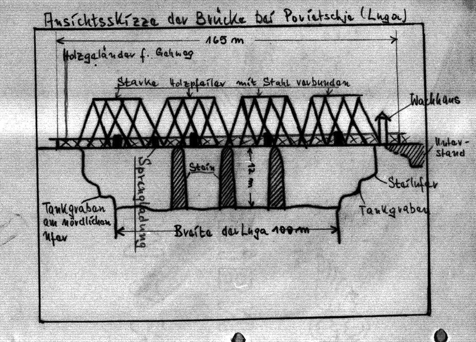 Немецкая схема моста через Лугу