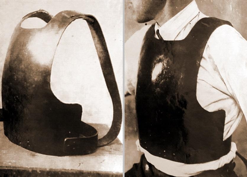Общий вид нагрудника инженера И. М. Вейнблата (слева) и нагрудник в надетом виде (справа) (РГВА) - Стальная броня для красноармейца. Рождение | Военно-исторический портал Warspot.ru