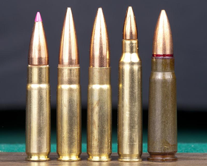 Патроны калибра .300 AAC Blackout (три первых слева) в сравнении с боеприпасами 5,56×45 мм NATO и 7,62×39 мм (справа) firearmsworld.net - Израильтяне продвигают новый американский калибр | Военно-исторический портал Warspot.ru