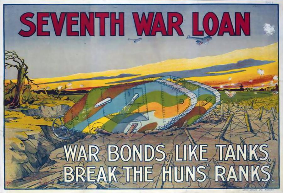 Раскрашенный в камуфляжные цвета танк на австралийском плакате, призывающем покупать облигации военного займа, 1918 год. Изображение несколько утрированное, но не далёкое от истины - Замаскироваться, чтобы выжить | Военно-исторический портал Warspot.ru