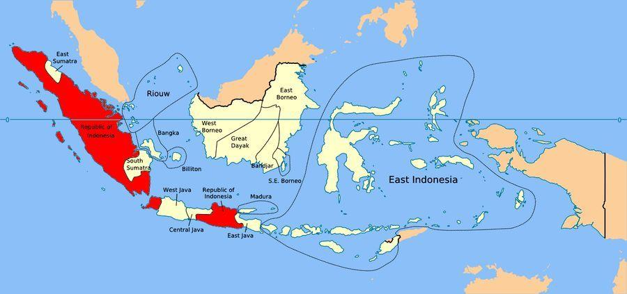 Карта Соединённых Штатов Индонезии на начало 1950 года - Рождение Индонезии: победа над федерализацией | Военно-исторический портал Warspot.ru