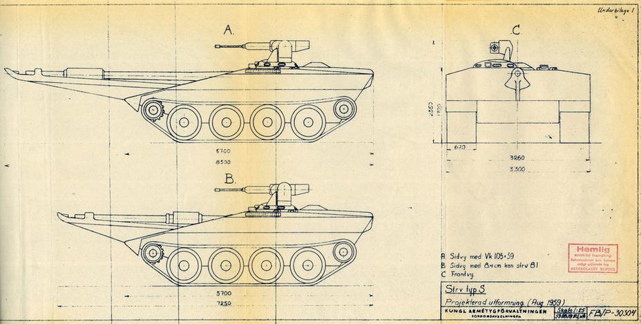 ?Так изначально выглядел Strv S, август 1959 года - Удивительный танк Strv 103 | Военно-исторический портал Warspot.ru