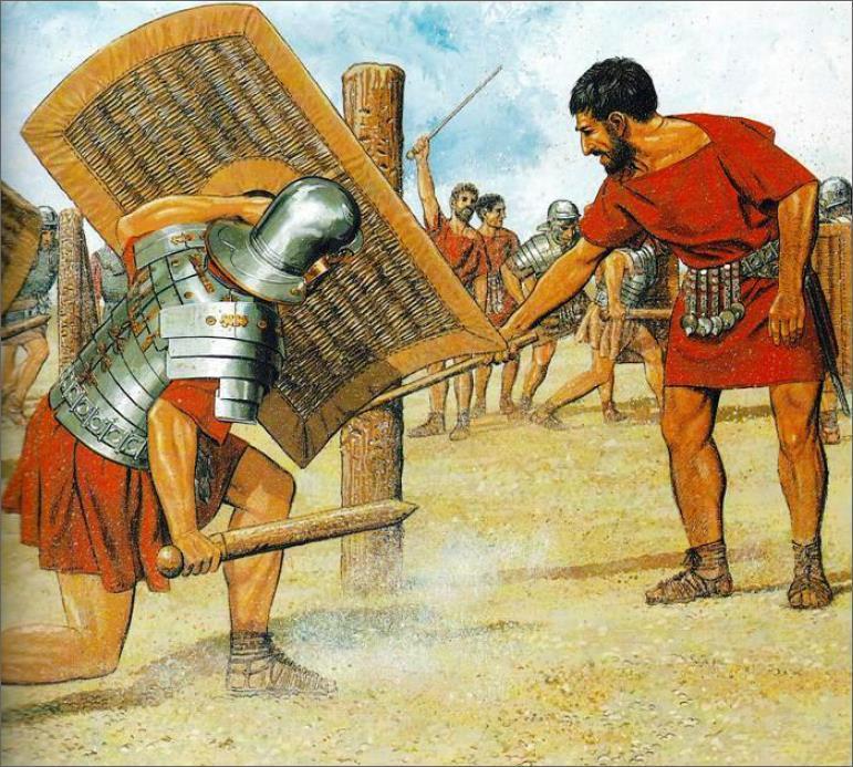 Малюнок Пітера Конноллі з реконструкцією процесу навчання римських солдатів фехтування - Римське фехтування |  Військово-історичний портал Warspot.ru