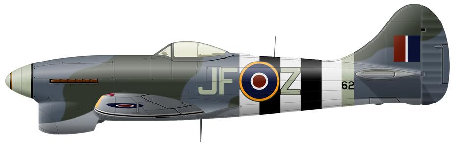?Tempest Mk.V (серийный JN862), 3-я эскадрилья RAF, авиабаза Ньючёрч, лето 1944 года. В июне — августе на этом самолёте регулярно летал и сбивал V-1 «антидайверский» ас № 2, бельгийский доброволец в RAF флайт-лейтенант Реми Ван-Лирде (Rémy Van Lierde, шесть побед над самолётами и 39 5/12 над V-1). Истребитель несёт стандартный камуфляж из зелёного Dark Green и серого с синеватым отливом Ocean Grey на верхних и боковых поверхностях при светло-серых Medium Sea Grey нижних. Опознавательные знаки стандартные для RAF. Также присутствуют элементы быстрого опознавания цвета Sky и чёрно-белые «полосы вторжения», при нанесении которых вокруг кодовых букв оставили тонкую окантовку исходного камуфляжного цвета, а попавшую под них часть серийного номера просто закрасили. На коке персональные обозначения в виде тонкой полосы, предположительно, национальных цветов Бельгии - Цвета военного неба: ловцы крылатых бомб | Военно-исторический портал Warspot.ru