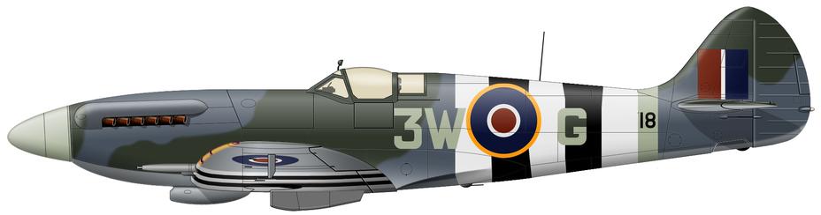 ?Spitfire Mk.XIVC (серийный NH718) из 322-й «голландской» эскадрильи RAF, авиабаза Вест-Маллинг, июнь — июль 1944 года. На этом самолёте сбивали V-1 несколько лётчиков: командир части майор SAAF Кит Кульман (Keith C. Kuhlmann, четыре победы над самолётами и одна или две над V-1) и голландские пилоты флаинг-офицеры Герард Йонгблуд (Gerard Jongbloed, одна «самолётная» победа и девять V-1) и Рудольф Бургвал (Rudolf Burgwal, лучший «антидайверский» ас на «Спитфайре» с 22 подтверждёнными победами, в т. ч. пятью — в одном вылете). Истребитель несёт стандартный «истребительный» камуфляж и обозначения того периода - Цвета военного неба: ловцы крылатых бомб | Военно-исторический портал Warspot.ru