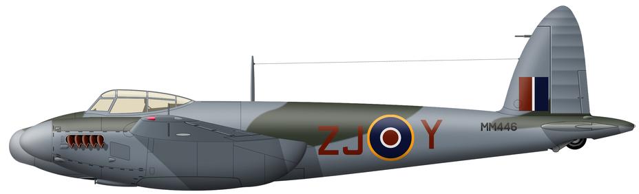 ?Mosquito NF Mk.XIII (серийный номер MM446), 96-я эскадрилья RAF, авиабаза Одихем, осень 1944 года. Среди прочих пилотов на этом самолёте охотился на V-1 и «Хейнкели»-носители командир части винг-коммандер Эдуард Крю (Edward D. Crew, 12,5 победы над самолётами и 21 над V-1) — второй по результативности «антидайверский» ас «Москито». Машина несёт стандартный двухцветный камуфляж английских ночных истребителей второй половины войны, в целом аналогичный дневному, только с заменой «океанского серого» на цвет нижних поверхностей - Цвета военного неба: ловцы крылатых бомб | Военно-исторический портал Warspot.ru