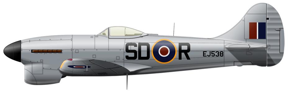 ?Tempest Mk.V (серийный, предположительно, EJ538), 501-я эскадрилья RAF, авиабаза Брадуэлл-Бэй, октябрь 1944 года. Один из нескольких истребителей этой части, с которых в надежде выжать ещё немного скорости смыли всю камуфляжную окраску, но командование достаточно быстро пресекло эту самодеятельность - Цвета военного неба: ловцы крылатых бомб | Военно-исторический портал Warspot.ru