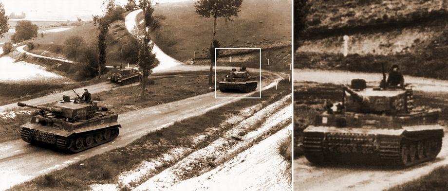 Далее, рассматривая серию фотографий, сделанных 7 июня во время выдвижения 2-й роты на фронт, на «Тигре», следующем за «Тигром» с тактическим № 211, можно различить камуфляж, подобный камуфляжу «Тигра» в Вильер-Бокаже - «Двести двенадцатый» | Военно-исторический портал Warspot.ru