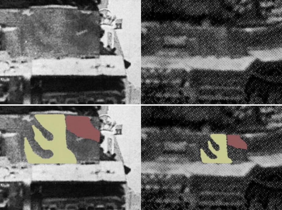 Сравнение увеличенных фрагментов фотографий не оставляет сомнений в том, что это один и тот же «Тигр» - «Двести двенадцатый» | Военно-исторический портал Warspot.ru