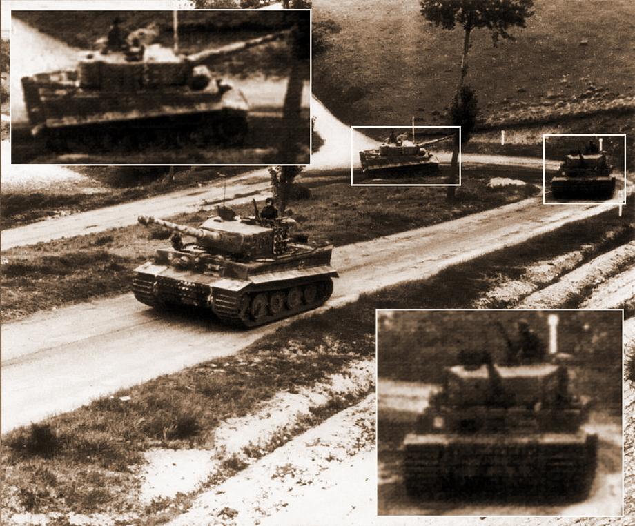 Кадр № 10. На переднем плане «Тигр» № 204 с хорошо различимым номером. Самая светлая полоса на траках, рисунок камуфляжа и расположение эмблемы соответствуют танку, движущемуся за «Тигром» № 205 в кадре № 7. На увеличенном фрагменте с «Тигром» № 211 хорошо виден рисунок камуфляжа на запасных траках и расположение эмблемы батальона. У «Тигра» № 212 номер на боку башни плохо, но различим, и это ещё один довод в пользу того, что за «Тигром» № 211 движется «Тигр» № 212 - «Двести двенадцатый» | Военно-исторический портал Warspot.ru