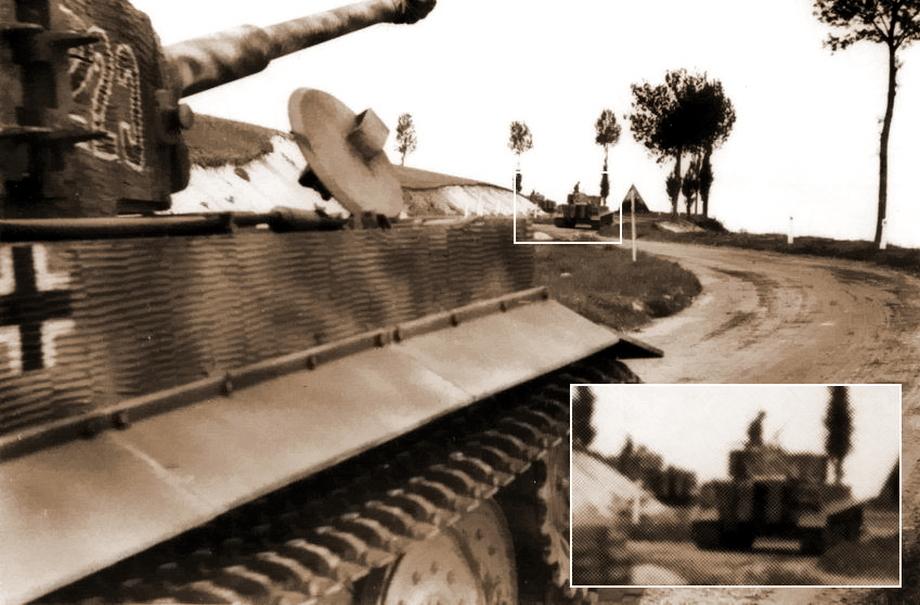 Кадр № 14. Вновь «Тигр» № 223 крупным планом, перед ним «Тигр» № 222, за поворотом скрывается «Тигр» № 221. То, что перед № 223 следует № 222, невозможно доказать при помощи фотографии, потому что невозможно разглядеть номер на забашенном ящике. Но это точно не № 221, у которого на кадре № 12 не был закрыт люк заряжающего, а у танка, двигающегося перед «Тигром» № 223, люк заряжающего закрыт. Также различаются места расположения эмблемы на корме корпуса у «Тигра» № 221 и у танка, идущего перед «Тигром» № 223 - «Двести двенадцатый» | Военно-исторический портал Warspot.ru