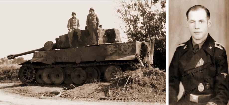 Слева «Тигр» № 132, подбитый 15 июня на дороге Вильер-Бокаж — Каань, справа его командир унтершарфюрер Вёрнер Вендт - «Двести двенадцатый» | Военно-исторический портал Warspot.ru