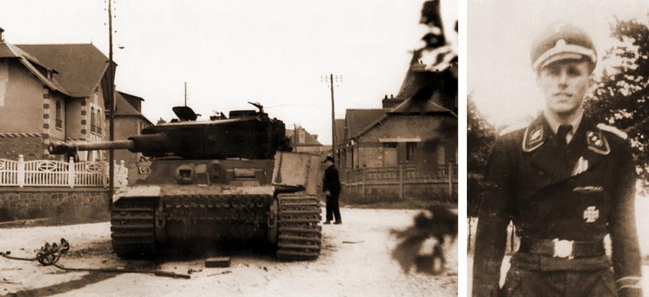 Слева «Тигр» № 123, подбитый в южной части Вильер-Бокажа, на перекрёстке улиц Дженни Бекон и Эмиля Самсона, справа его командир унтерштурмфюрер Фриц Штамм - «Двести двенадцатый» | Военно-исторический портал Warspot.ru