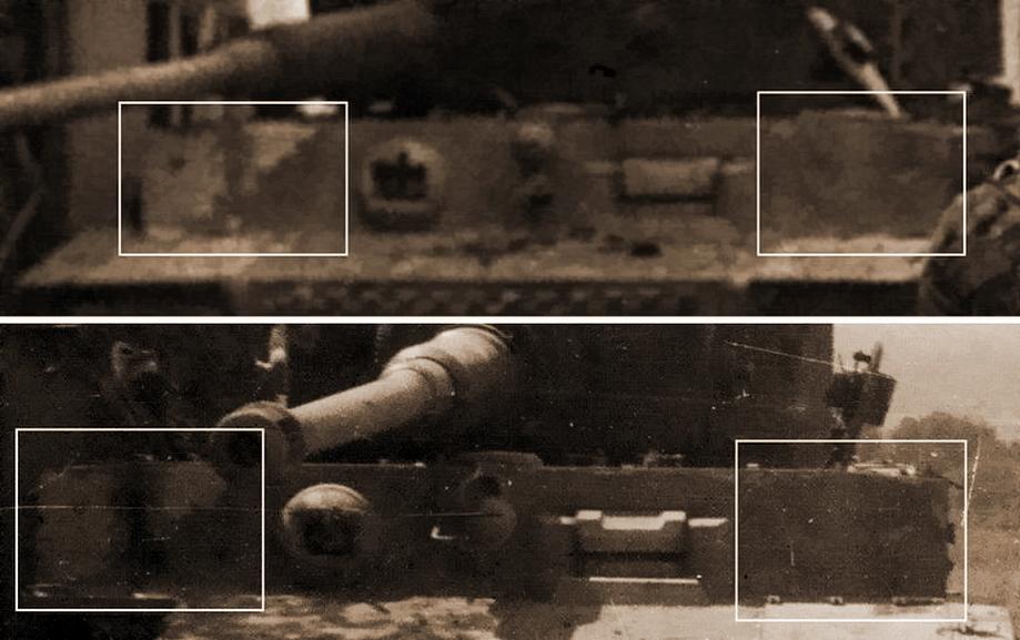 Сравнение фото «Тигра», уничтоженного в Вильер-Бокаже, и «Тигра» в поле у живой изгороди. Те же сколы циммерита, то же расположение эмблемы батальона и рисунок камуфляжа. Также обращает на себя внимание орудие — тот же угол наклона и ушедший внутрь башни ствол - «Двести двенадцатый» | Военно-исторический портал Warspot.ru
