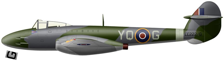 Meteor Mk.I (серийный номер EE222), который в августе 1944 года был персональным самолетом командира 616-й эскадрильи RAF винг-коммандера Эндрю МакДауолла. Во время патрулирования 29 августа летчик не уследил за расходом топлива и совершил вынужденную посадку на поле южнее Манстона. Сам он при этом отделался только синяками и царапинами, а машину списали. Строевые «Метеоры» несли стандартный камуфляж дневных истребителей из зелёного Dark Green и серого с синеватым отливом Ocean Grey на верхних и боковых поверхностях при светло-серых Medium Sea Grey нижних. Все обозначения также стандартны для истребителей. В тот период на самолетах западноевропейского ТВД еще использовались «полосы вторжения», но на реактивной технике их никогда не было. Литера «G» в серийном номере означала секретность аппарата и необходимость выставлять вооруженную охрану на его стоянках. - Цвета военного неба: «Метеоры», прилетевшие с запада | Военно-исторический портал Warspot.ru