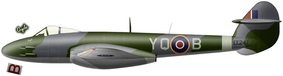 Meteor Mk.III (серийный номер EE247) с двигателями «Дервент», c апреля по август 1945 года использовавшийся 616-й эскадрильей на авиабазах в Голландии и Германии. - Цвета военного неба: «Метеоры», прилетевшие с запада | Военно-исторический портал Warspot.ru