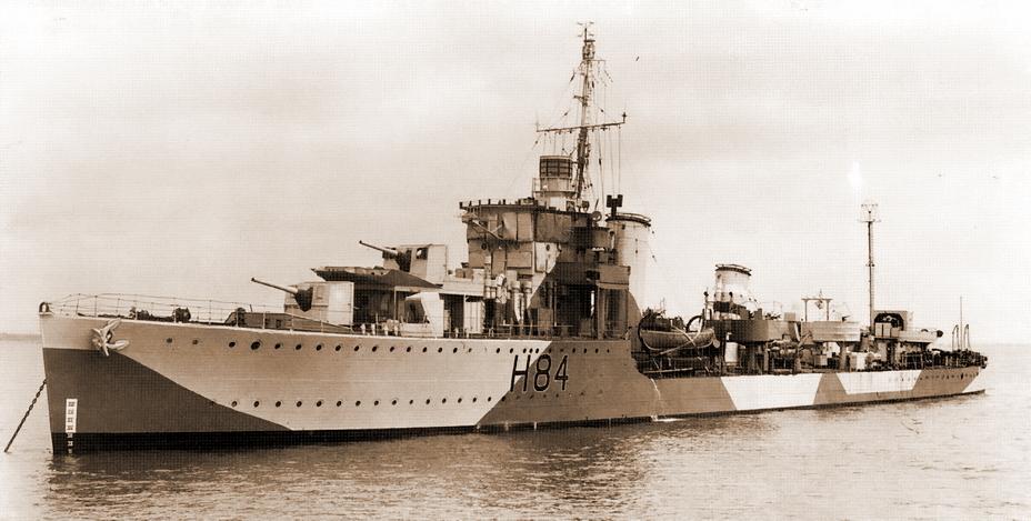 Британский эсминец «Бриллиант», возглавлявший охранение конвоя WEP-3. http://www.marine-mra-klm.be - Рождество в холодных водах Ла-Манша | Военно-исторический портал Warspot.ru