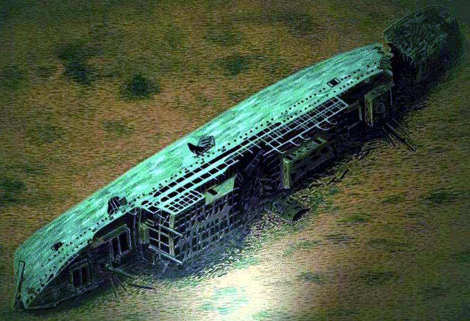 Рисунок, изображающий «Леопольдвилль» на дне Ла-Манша. Лайнер, обнаруженный в 1984 году, лежит на глубине 60 метров. По свидетельствам очевидцев, дно вокруг него усыпано стальными касками американских пехотинцев. http://www.charlestonmercury.com - Рождество в холодных водах Ла-Манша | Военно-исторический портал Warspot.ru