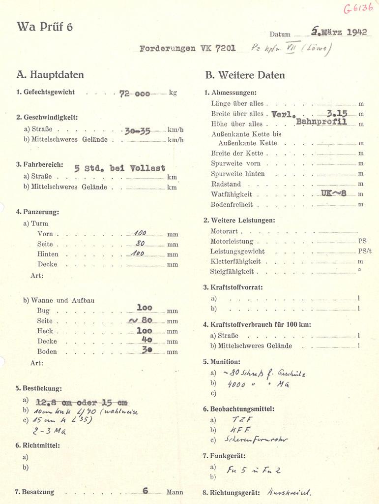 ?VK 72.01, попытка создать облегченный вариант VK 70.01. Как можно заметить по правкам, однозначного мнения не было ни по вооружению перспективного танка, ни даже по его названию. Именно в этом документе упоминаются и Pz.Kpfw. L?we, и Pz.Kpfw.VII - Немецкий лев | Военно-исторический портал Warspot.ru