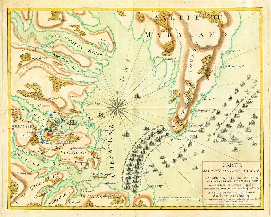 Карта сражения у Чесапика 5 сентября 1781 года - Французский подарок американским патриотам | Военно-исторический портал Warspot.ru