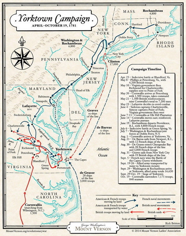 Карта Йорктаунской кампании 1781 года - Французский подарок американским патриотам | Военно-исторический портал Warspot.ru