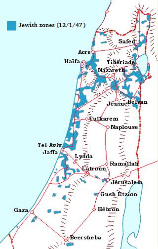 Карта еврейских поселений в Палестине на момент начала Войны за независимость Источник: http://en.wikipedia.org - Война за независимость Израиля: От плана ООН до «Плана Далет» | Военно-исторический портал Warspot.ru