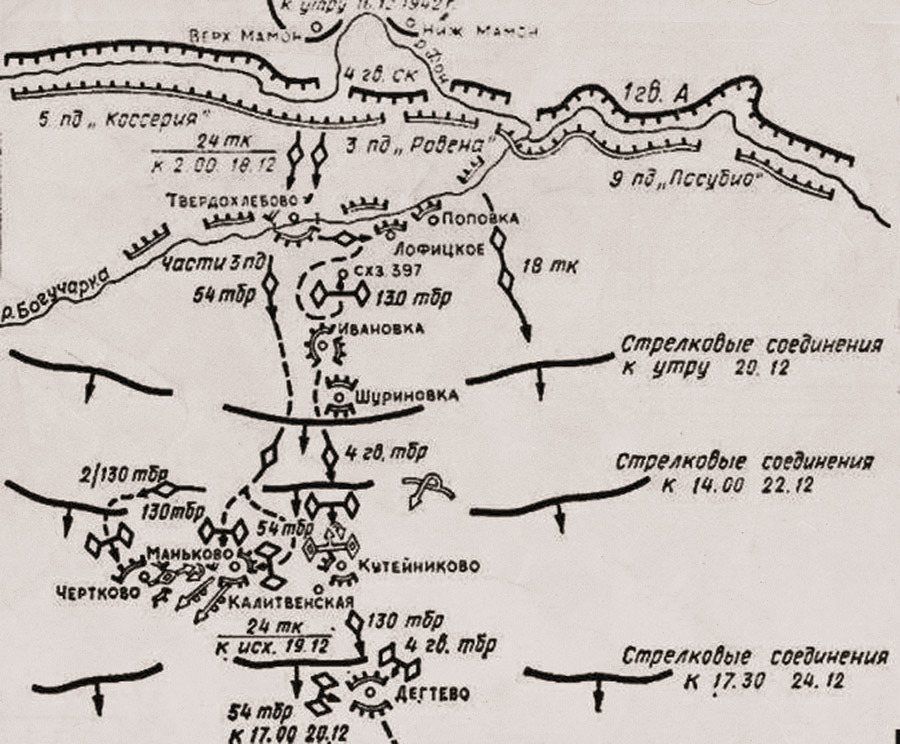 Схема продвижения 24-го ТК с 18:30 17 декабря до 17:00 20 декабря 1942 года Источник – taringa.net - Рейд генерала Баданова | Военно-исторический портал Warspot.ru
