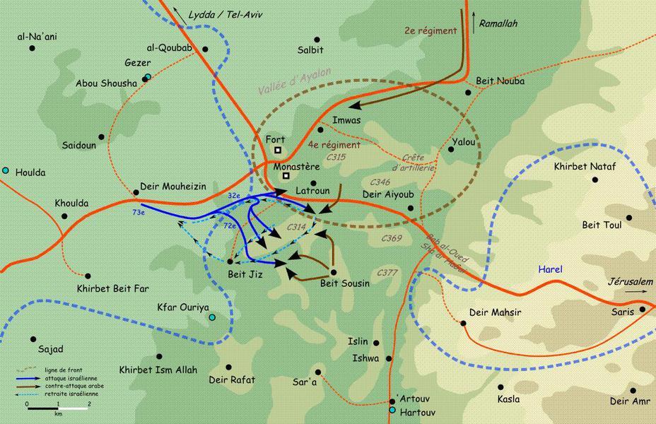Карта операции «Бин-Нун» (алеф) Источник: cyclowiki.org - Война за независимость Израиля: «Латрунская мясорубка» | Военно-исторический портал Warspot.ru