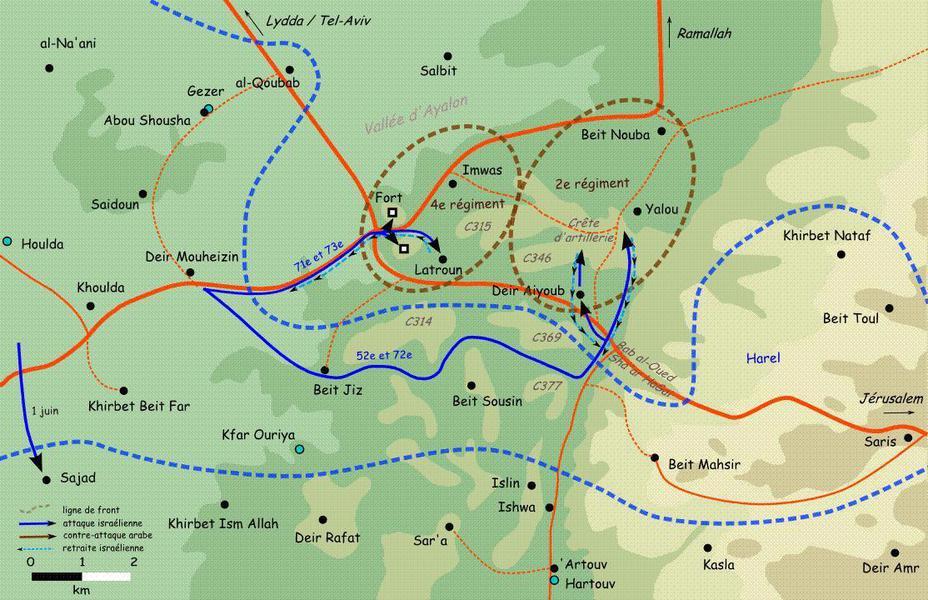 Карта операции «Бин-Нун» (бет) Источник: cyclowiki.org - Война за независимость Израиля: «Латрунская мясорубка» | Военно-исторический портал Warspot.ru