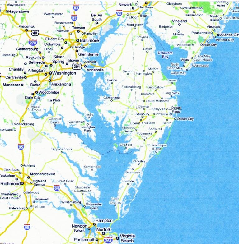 Чесапикский залив (современная карта) - Взятие Вашингтона | Военно-исторический портал Warspot.ru