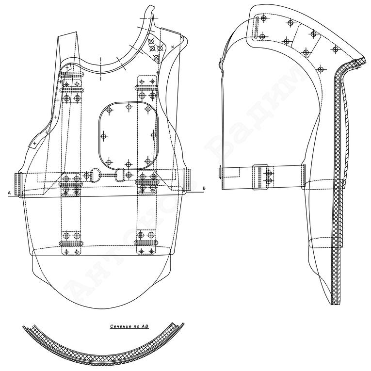 Общий вид нагрудника СН-38 из трёх частей (РГВА) - Стальная броня для красноармейца: рождение | Военно-исторический портал Warspot.ru