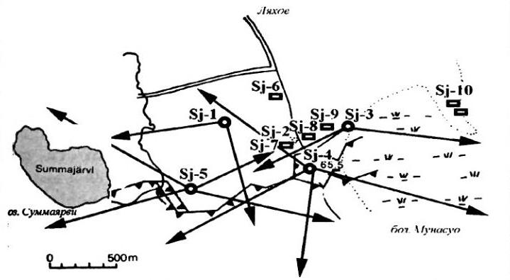 Система огневого взаимодействия в узле «Суммаярви» к осени 1939 года с двумя ДОТами-миллионерами Sj-4 («Поппиус») и Sj-5 («Миллионный»). Высота 65,5 в центре (http://samlib.ru) - Стальная броня для красноармейца: боевой дебют | Военно-исторический портал Warspot.ru