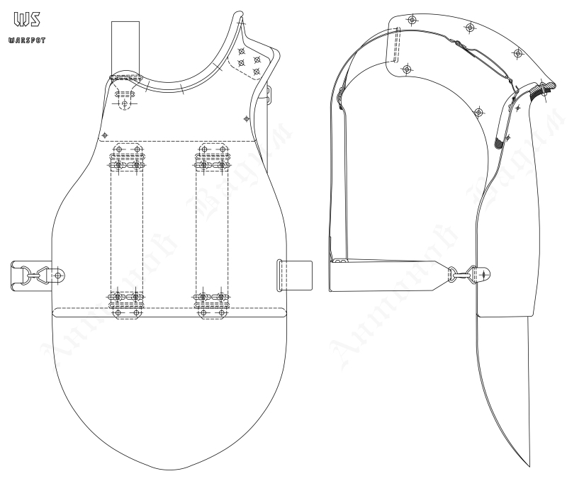 Нагрудник СН-42, первый вариант от 28 февраля 1942 года (ЦАМО) - Стальная броня для красноармейца: трудный выбор первого года войны | Военно-исторический портал Warspot.ru
