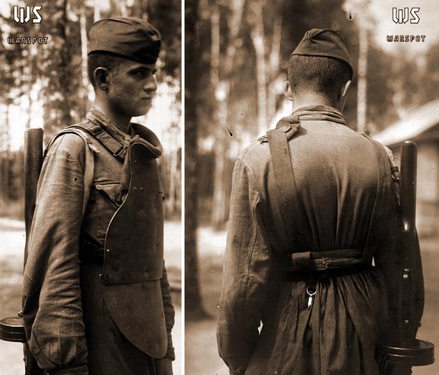 СН-42 первых серий на красноармейце из состава ВДВ КА (ЦАМО) - Стальная броня для красноармейца: массовый СН-42 и его конкуренты | Военно-исторический портал Warspot.ru