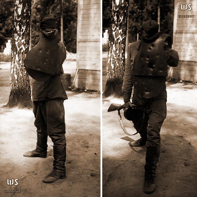 Стрельба стоя и передвижение с модернизированным СН-42 (ЦАМО) - Стальная броня для красноармейца: массовый СН-42 и его конкуренты | Военно-исторический портал Warspot.ru
