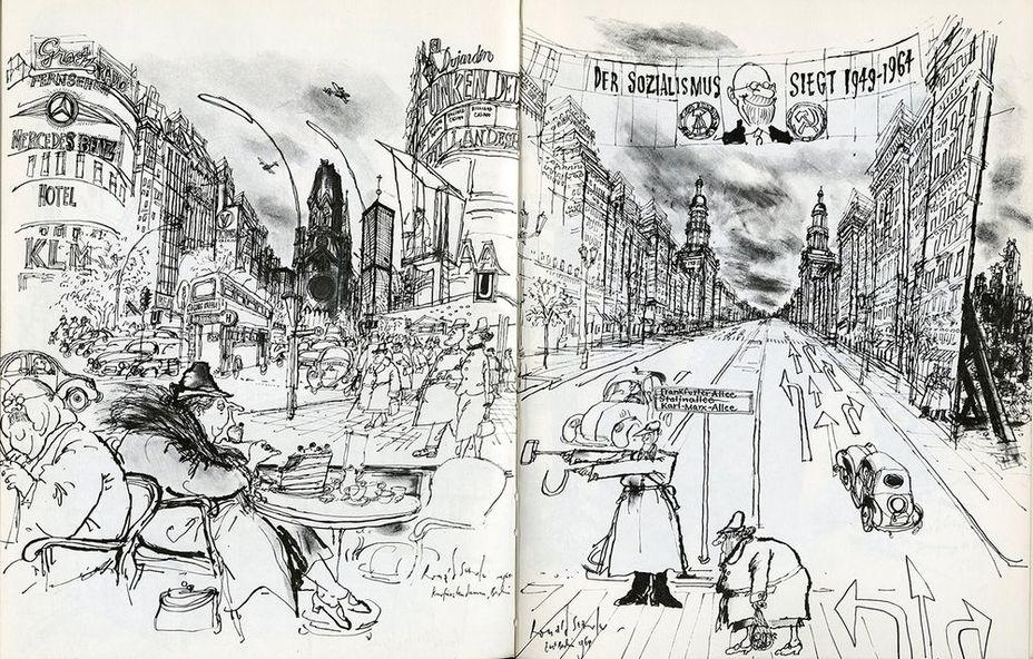 Западногерманская карикатура о различиях между Восточным и Западным Берлином, нарисована в середине 60-х г.