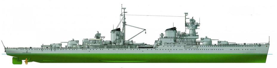 Лёгкий крейсер «Железняков» проекта 68-К, 1950 год Источник: С. Балакин. Лёгкие крейсера типа «Чапаев» («Морская кампания», 2010, №1) - «Белый слон» Сталина | Военно-исторический портал Warspot.ru