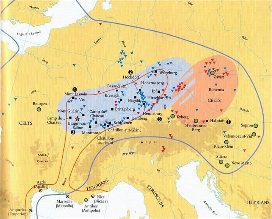 Ареал Галльштаттской культуры с выделением западного и восточного её ареала - Кельты: появление на исторической арене | Warspot.ru