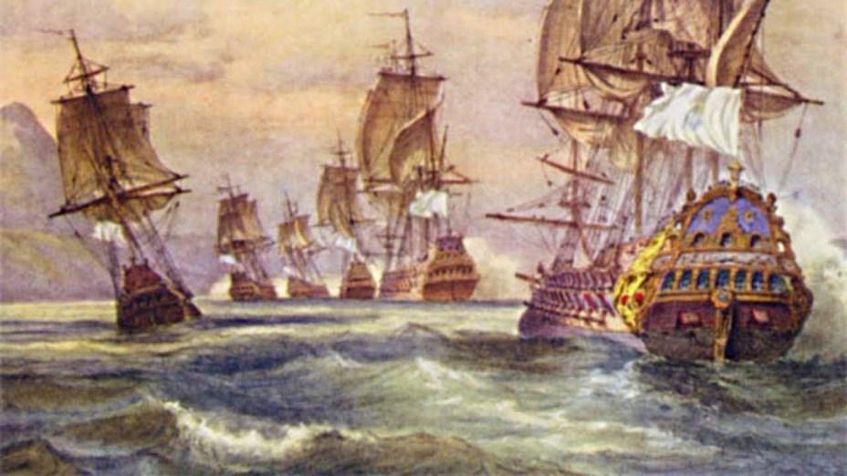 Атака французами португальской эскадры - Рейд на Рио: блестящий успех с сомнительными итогами | Военно-исторический портал Warspot.ru