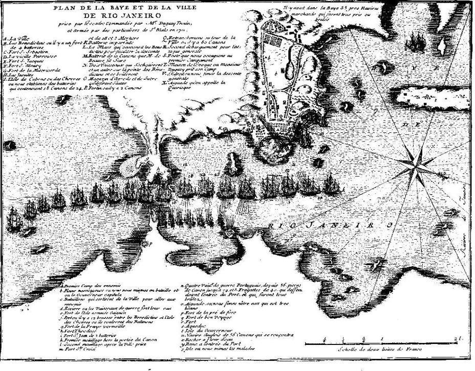 Карта бухты Рио-де-Жанейро, составленная собственноручно Дюгэ-Труэном - Рейд на Рио: блестящий успех с сомнительными итогами | Военно-исторический портал Warspot.ru