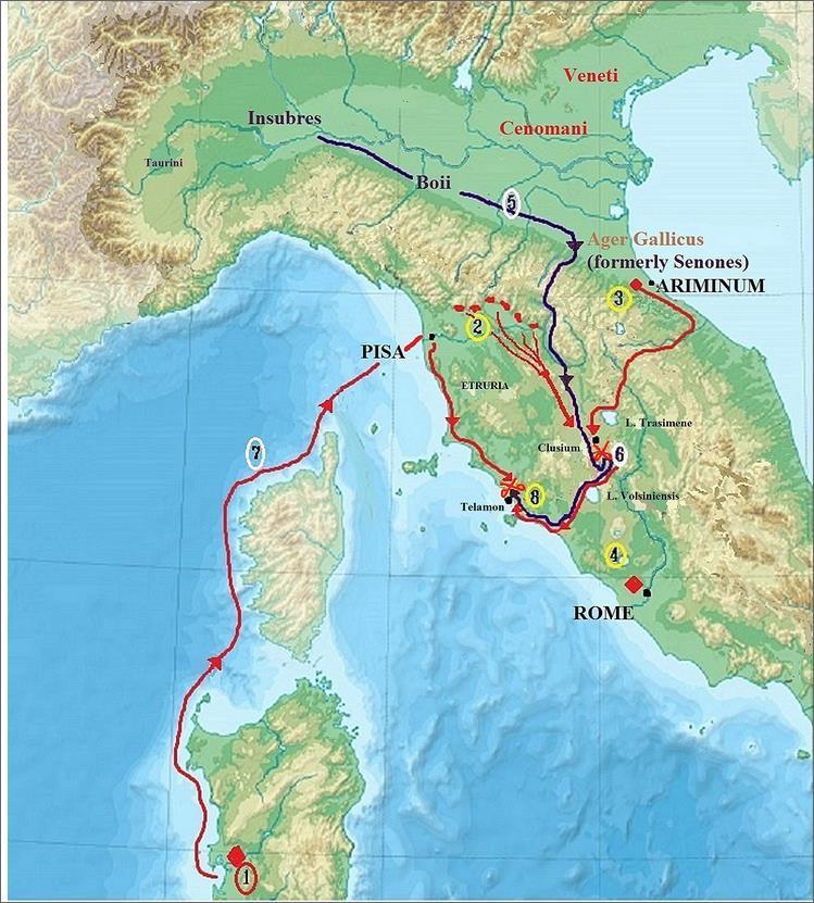 Кампания 225 года до н.э. 1. Консул Гай Атилий Регул со своей армией на Сардинии. 2. Отряды этрусков и сабинов под командованием претора стерегут проходы в Апеннинах. 3. Консул Луций Эмилий Пап со своей армией находится у Аримина. 4. Резервные силы в Риме. 5. Галлы направляются к Аримину, но затем поворачивают на юг и через проходы в Апеннинах вторгаются в Этрурию. 6. У Фезулы галлы наносят поражение ополчению этрусков, остатки которого спасены консулом Папом. Галлы поворачивают на запад и выходят к морскому побережью. Консул идёт за ними. 7. Регул тем временем высаживается со своей армией в Пизе и по Аврелиевой дороге идёт навстречу галлам. 8. Все три армии встречаются у Теламона. - Кельты:Римское завоевание Цизальпинской Галлии | Warspot.ru